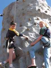 006 Lachlan Schmerl and Lucy Dow enjoy the climbing wall